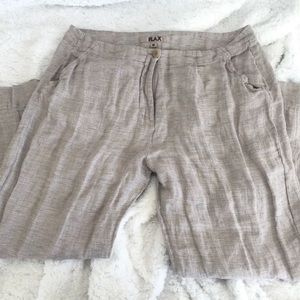 Flax plaid linen trouser pants